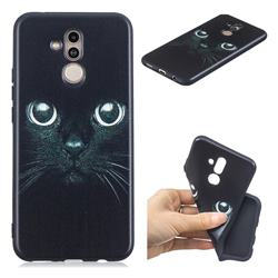 Bearded Feline 3D Embossed Relief Black TPU Cell Phone Back Cover for Huawei Mate 20 Lite