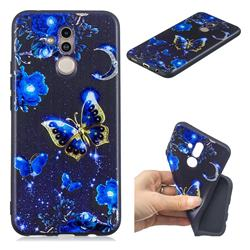 Phnom Penh Butterfly 3D Embossed Relief Black TPU Cell Phone Back Cover for Huawei Mate 20 Lite