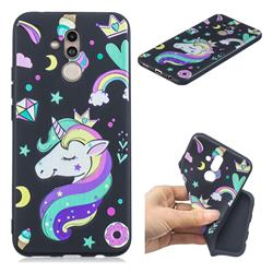 Candy Unicorn 3D Embossed Relief Black TPU Cell Phone Back Cover for Huawei Mate 20 Lite