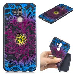 Colorful Lace 3D Embossed Relief Black TPU Cell Phone Back Cover for Huawei Mate 20 Lite