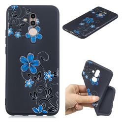 Little Blue Flowers 3D Embossed Relief Black TPU Cell Phone Back Cover for Huawei Mate 20 Lite