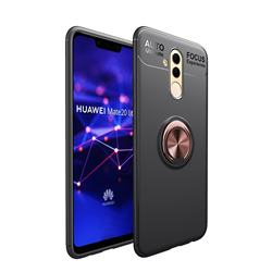 Auto Focus Invisible Ring Holder Soft Phone Case for Huawei Mate 20 Lite - Black Gold