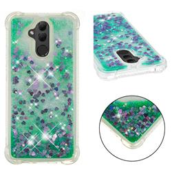 Dynamic Liquid Glitter Sand Quicksand TPU Case for Huawei Mate 20 Lite - Green Love Heart