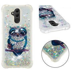 Sweet Gray Owl Dynamic Liquid Glitter Sand Quicksand Star TPU Case for Huawei Mate 20 Lite