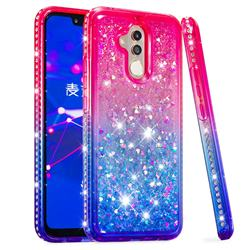 Diamond Frame Liquid Glitter Quicksand Sequins Phone Case for Huawei Mate 20 Lite - Pink Blue