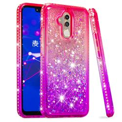 Diamond Frame Liquid Glitter Quicksand Sequins Phone Case for Huawei Mate 20 Lite - Pink Purple