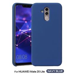 Howmak Slim Liquid Silicone Rubber Shockproof Phone Case Cover for Huawei Mate 20 Lite - Midnight Blue