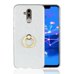 Luxury Soft TPU Glitter Back Ring Cover with 360 Rotate Finger Holder Buckle for Huawei Mate 20 Lite - White