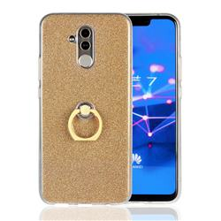 Luxury Soft TPU Glitter Back Ring Cover with 360 Rotate Finger Holder Buckle for Huawei Mate 20 Lite - Golden