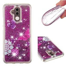 Purple Flower Butterfly Dynamic Liquid Glitter Quicksand Soft TPU Case for Huawei Mate 20 Lite