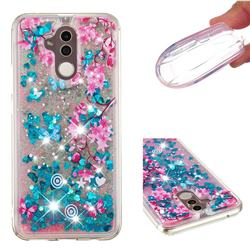 Blue Plum Blossom Dynamic Liquid Glitter Quicksand Soft TPU Case for Huawei Mate 20 Lite
