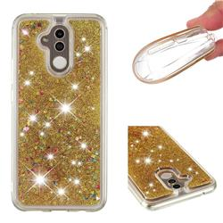 Dynamic Liquid Glitter Quicksand Sequins TPU Phone Case for Huawei Mate 20 Lite - Golden