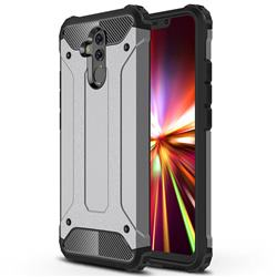 King Kong Armor Premium Shockproof Dual Layer Rugged Hard Cover for Huawei Mate 20 Lite - Silver Grey