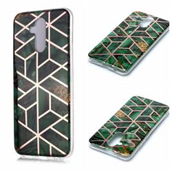 Green Rhombus Galvanized Rose Gold Marble Phone Back Cover for Huawei Mate 20 Lite