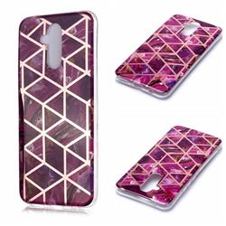 Purple Rhombus Galvanized Rose Gold Marble Phone Back Cover for Huawei Mate 20 Lite