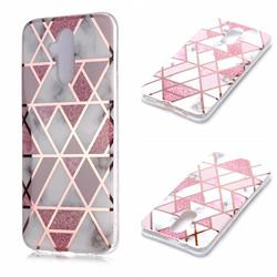 Pink Rhombus Galvanized Rose Gold Marble Phone Back Cover for Huawei Mate 20 Lite