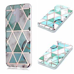 Green White Galvanized Rose Gold Marble Phone Back Cover for Huawei Mate 20 Lite