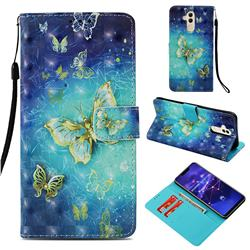 Gold Butterfly 3D Painted Leather Wallet Case for Huawei Mate 20 Lite