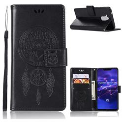 Intricate Embossing Owl Campanula Leather Wallet Case for Huawei Mate 20 Lite - Black
