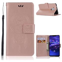 Intricate Embossing Owl Campanula Leather Wallet Case for Huawei Mate 20 Lite - Rose Gold