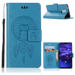 Intricate Embossing Owl Campanula Leather Wallet Case for Huawei Mate 20 Lite - Blue