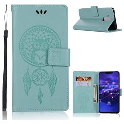 Intricate Embossing Owl Campanula Leather Wallet Case for Huawei Mate 20 Lite - Green