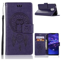 Intricate Embossing Owl Campanula Leather Wallet Case for Huawei Mate 20 Lite - Purple