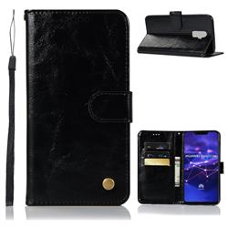 Luxury Retro Leather Wallet Case for Huawei Mate 20 Lite - Black