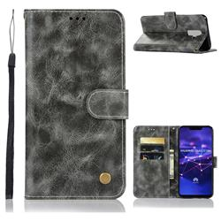 Luxury Retro Leather Wallet Case for Huawei Mate 20 Lite - Gray