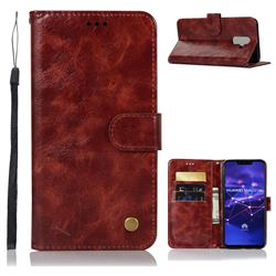 Luxury Retro Leather Wallet Case for Huawei Mate 20 Lite - Wine Red