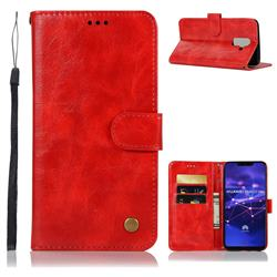 Luxury Retro Leather Wallet Case for Huawei Mate 20 Lite - Red