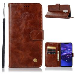 Luxury Retro Leather Wallet Case for Huawei Mate 20 Lite - Brown