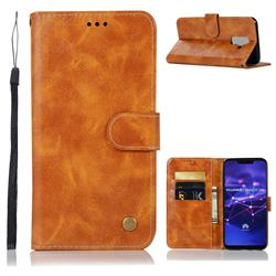 Luxury Retro Leather Wallet Case for Huawei Mate 20 Lite - Golden