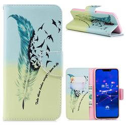 Feather Bird Leather Wallet Case for Huawei Mate 20 Lite