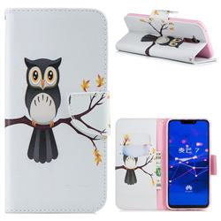 Owl on Tree Leather Wallet Case for Huawei Mate 20 Lite
