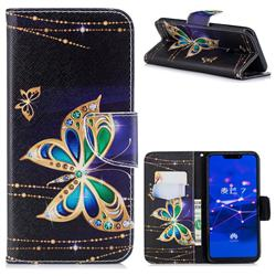 Golden Shining Butterfly Leather Wallet Case for Huawei Mate 20 Lite
