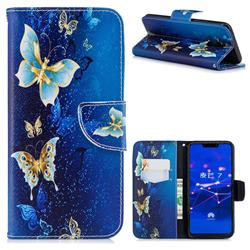 Golden Butterflies Leather Wallet Case for Huawei Mate 20 Lite