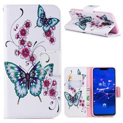 Peach Butterflies Leather Wallet Case for Huawei Mate 20 Lite