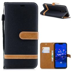 Jeans Cowboy Denim Leather Wallet Case for Huawei Mate 20 Lite - Black