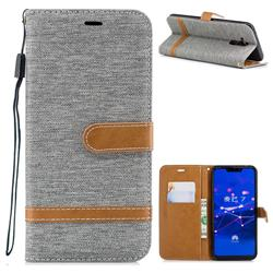 Jeans Cowboy Denim Leather Wallet Case for Huawei Mate 20 Lite - Gray