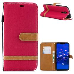 Jeans Cowboy Denim Leather Wallet Case for Huawei Mate 20 Lite - Red