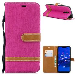 Jeans Cowboy Denim Leather Wallet Case for Huawei Mate 20 Lite - Rose