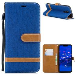 Jeans Cowboy Denim Leather Wallet Case for Huawei Mate 20 Lite - Sapphire