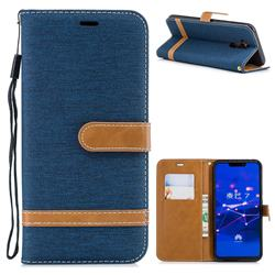 Jeans Cowboy Denim Leather Wallet Case for Huawei Mate 20 Lite - Dark Blue