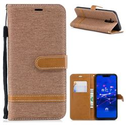 Jeans Cowboy Denim Leather Wallet Case for Huawei Mate 20 Lite - Brown