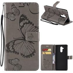 Embossing 3D Butterfly Leather Wallet Case for Huawei Mate 20 Lite - Gray