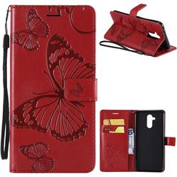 Embossing 3D Butterfly Leather Wallet Case for Huawei Mate 20 Lite - Red