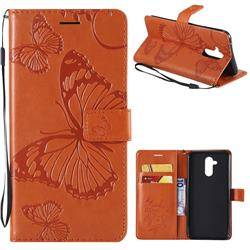 Embossing 3D Butterfly Leather Wallet Case for Huawei Mate 20 Lite - Orange