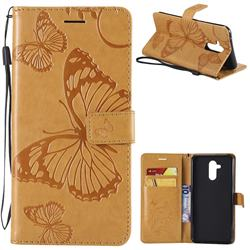 Embossing 3D Butterfly Leather Wallet Case for Huawei Mate 20 Lite - Yellow