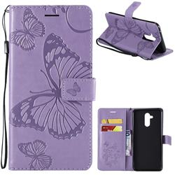 Embossing 3D Butterfly Leather Wallet Case for Huawei Mate 20 Lite - Purple